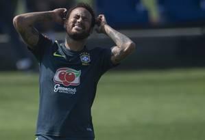 Neymar em treino da seleção na Granja Comary, em 1 de junho de 2019 Foto: MAURO PIMENTEL / AFP