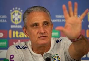 Coletiva de imprensa com Tite aconteceu nesta manhã em Teresópolis - RJ Foto: Pedro Martins / Agência O Globo
