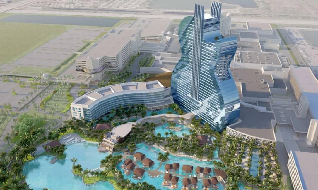 Projeto mostra como ficará o novo Seminole Hard Rock Hotel Hollywood, na Flórida, o primeiro do mundo em forma de guitarra Foto: Divulgação