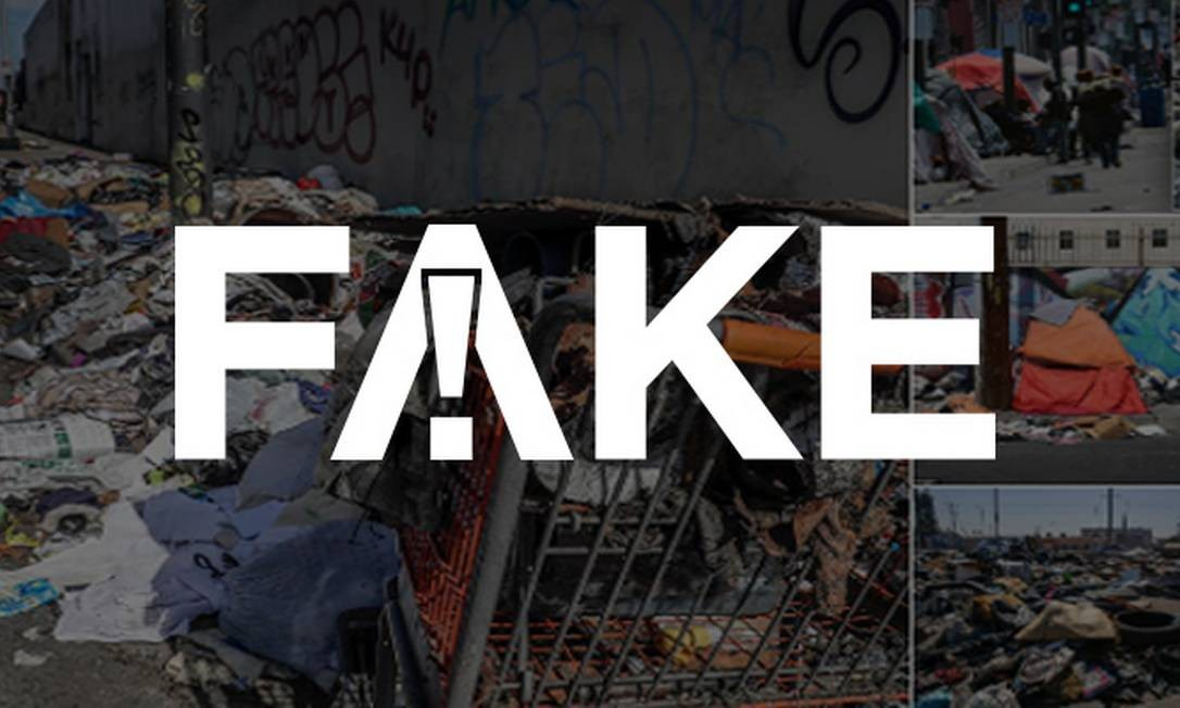 É #FAKE que fotos de ruas com montanhas de lixo, acampamento urbano e placas em inglês sejam de Caracas Foto: Reprodução/G1