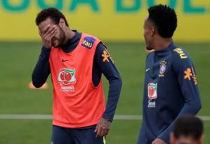 Neymar treina com a Seleção Brasileira na Granja Comary Foto: RICARDO MORAES / REUTERS