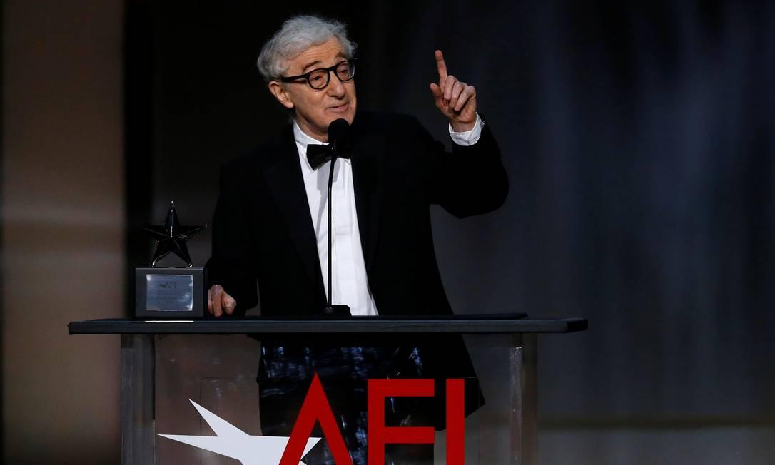 Woody Allen discura no American Film Institute, em 2017 Foto: Mario Anzuoni / REUTERS