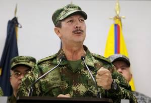 General Nicacio Martinez, durante entrevista coletiva em Bogotá Foto: LUISA GONZALEZ / REUTERS/ 20-05-2019