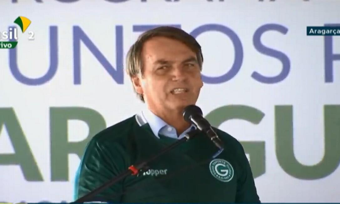 """O presidente Jair Bolsonaro discursa em solenidade de lançamento do projeto """"Juntos pelo Araguaia"""", em Aragarça (GO). Foto: Reprodução/NBR"""