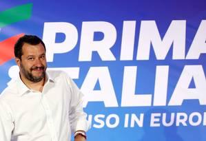 Vice-premier da Itália Matteo Salvini celebrando resultados das eleições do Parlamento Europeu em Milão Foto: Alessandro Garofalo / REUTERS/27-05-2019