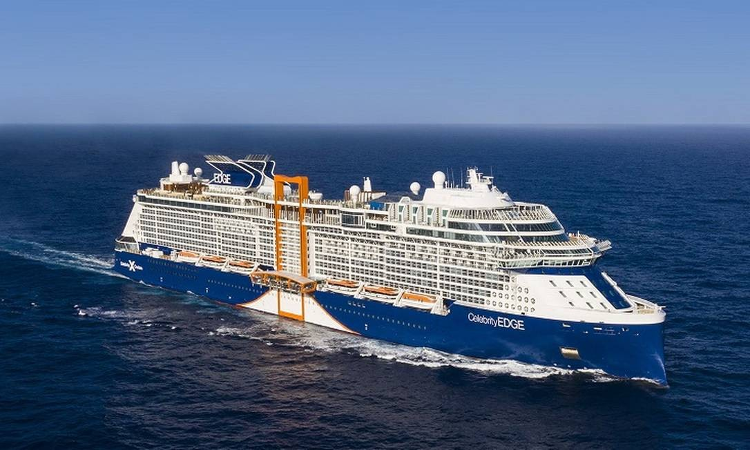 Imagem aérea do navio de cruzeiros de luxo Celebrity Edge Foto: Celebrity Cruises / Divulgação
