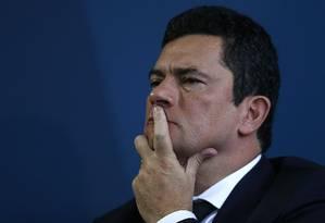 O ministro da Justiça, Sergio Moro, durante solenidade em Brasília Foto: Jorge William / Agência O Globo -20/05/2019