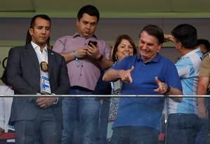Presidente Jair Bolsonaro durante amistoso entre Brasil e Qatar, no Mané Garrincha Foto: ADRIANO MACHADO / REUTERS