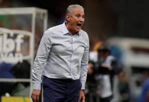 O técnico Tite na vitória do Brasil sobre o Qatar, no Mané Garrincha Foto: UESLEI MARCELINO / REUTERS