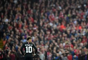 Neymar durante partida entre o PSG e o Liverpool Foto: Michael Regan / Getty Images