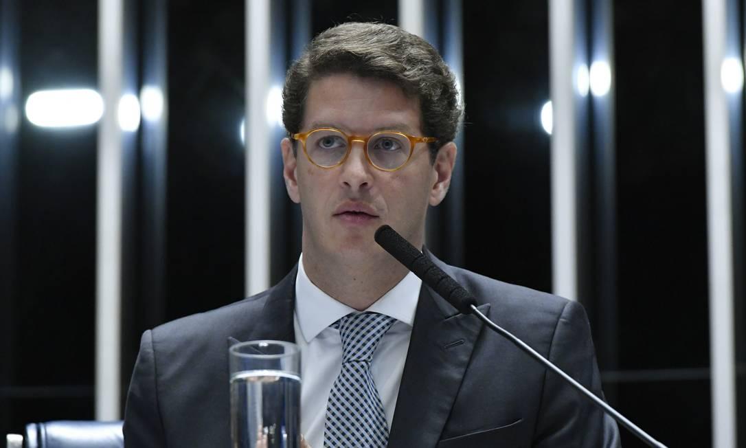 O ministro do Meio Ambiente, Ricardo Salles, durante sessão solene no Senado Foto: Geraldo Magela/Agência Senado