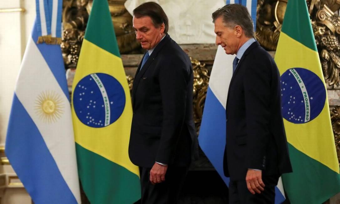 Bolsonaro faz sua primeira visita oficial a Macri, na Argentina, no início de junho. Acordo comercial entre Mercosul e UE esteve no centro da agenda de Macri e Bolsonaro, em Buenos Aires. Presidente brasileiro anunciou ideia de criar uma moeda comum entre os países: o 'peso real' Foto: AGUSTIN MARCARIAN / REUTERS