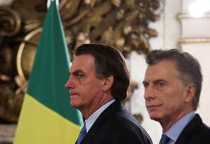 Presidentes Jair Bolsonaro e Mauricio Macri na Casa Rosada em Buenos Aires Foto: AGUSTIN MARCARIAN / REUTERS
