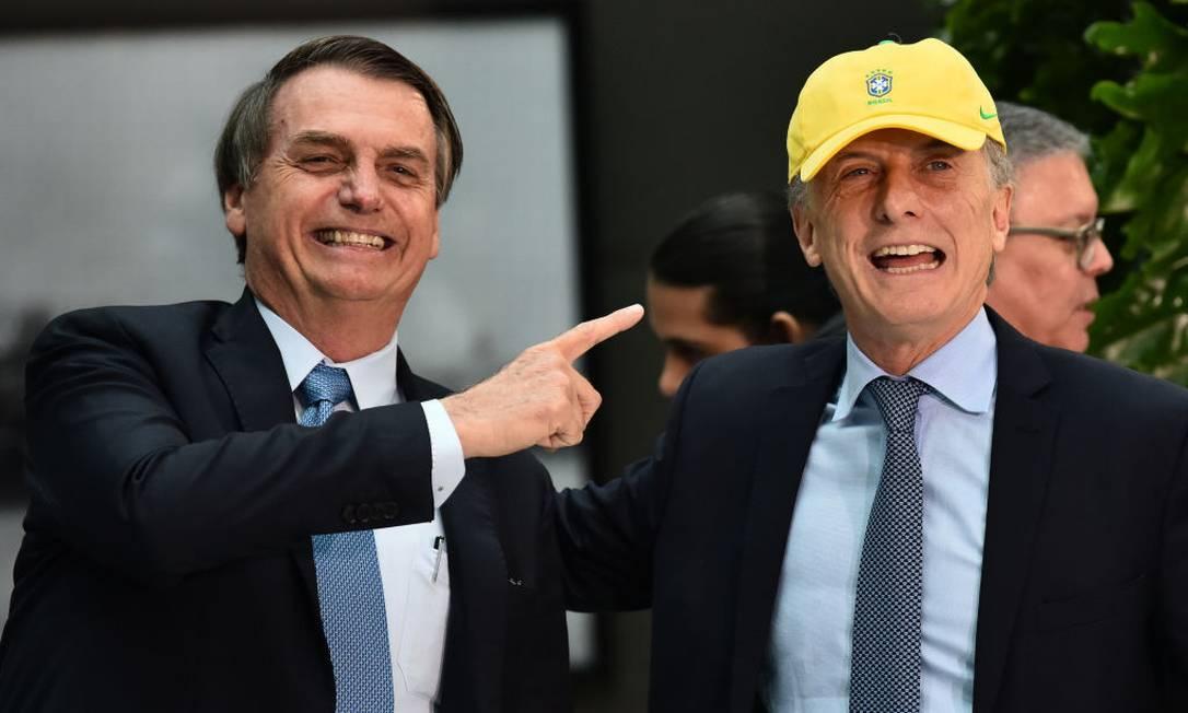 O presidente da Argentina Mauricio Macri e o presente Jair Bolsonaro Foto: Amilcar Orfali / Getty Images