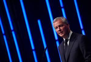 Bruno Le Maire, ministro das Finanças da França: declaração de apoio minutos após anúncio de aliança das montadoras Foto: JOHN MACDOUGALL / AFP