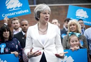 Primeira-ministra do Reino Unido, Theresa May, em discurso de 2018; ela formalizou sua renúncia em 07 de junho de 2019 Foto: POOL New / REUTERS/04-05-2018