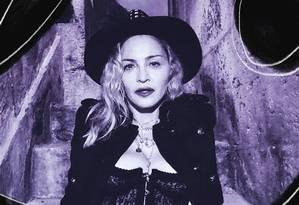 Madonna posa no chafariz da Mãe D'Água, na Praça da Alegria, em Lisboa Foto: Reprodução / Arte de Clara Brandão sobre foto reprodução/Instagram