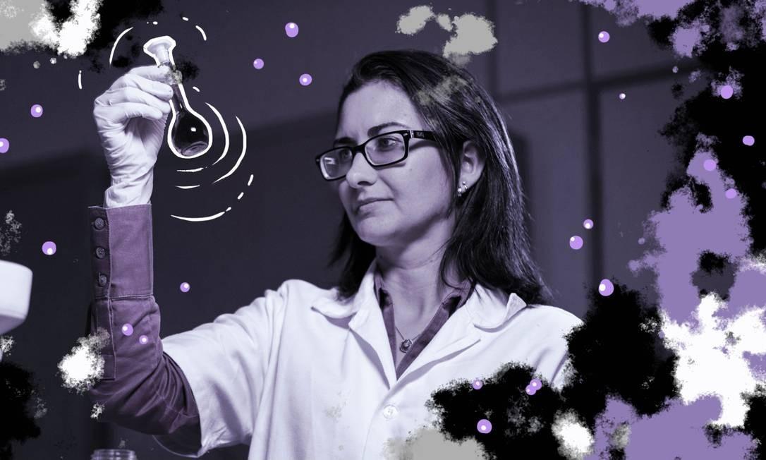 Pesquisadora do Instituto Nacional de Tecnologia, Ayla Sant'Ana da Silva, estuda as propriedades moleculares da semente do açaí Foto: Arte de Nina Millen sobre foto de Gabriel Monteiro