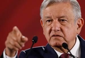 O presidente do México, Andrés Manuel López Obrador, na sexta-feira, no Palácio Nacional Foto: REUTERS