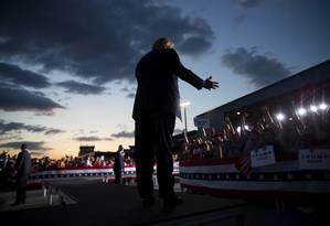 No palanque. Presidente Donald Trump acirrou tensões comerciais com México no início da sua campanha à reeleição: desde 2016, o republicano trata práticas econômicas de outros países como uma ameaça à segurança nacional dos EUA Foto: ERIC THAYER / NYT