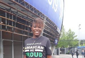 A felicidade de Michelle Adamolekun momentos antes da estreia da Jamaica no Mundial da França Foto: Tatiana Furtado