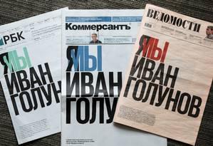 Capas dos jornais russos RBK, Kommersant e Vedomosti. Os três publicaram um protesto em apoio ao jornalista Ivan Golunov, preso na quinta-feira em Moscou, acusado de tráfico de drogas. Ele nega as acusações e afirma que foi agredido. Foto: Shamil Zhutanov / REUTERS