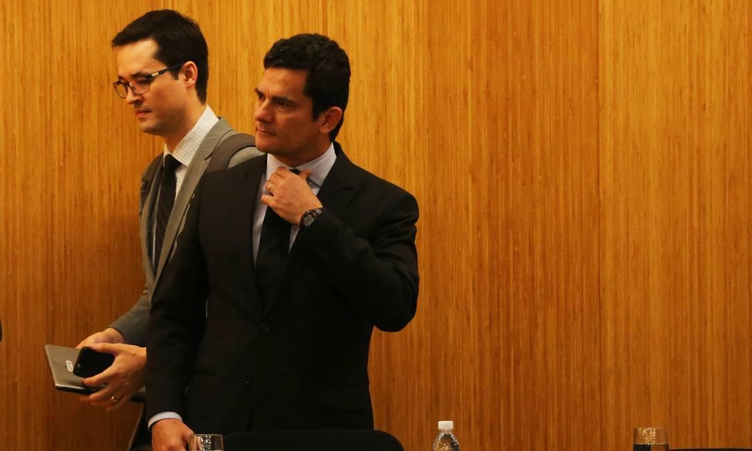O ministro da Justiça e ex-juiz Sergio Moro e o promotor Deltan Dallagnol 10/08/2016 Foto: Ailton de Freitas / Agência O Globo