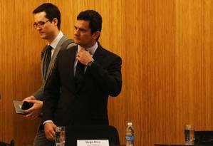 O ministro da Justiça e ex-juiz Sergio Moro e o promotor Deltan Dallagnol Foto: Ailton de Freitas / Agência O Globo