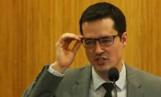 O promotor Deltan Dallagnol durante a sua palestra no auditório da UniCEUB Foto: Ailton de Freitas / Agência O Globo