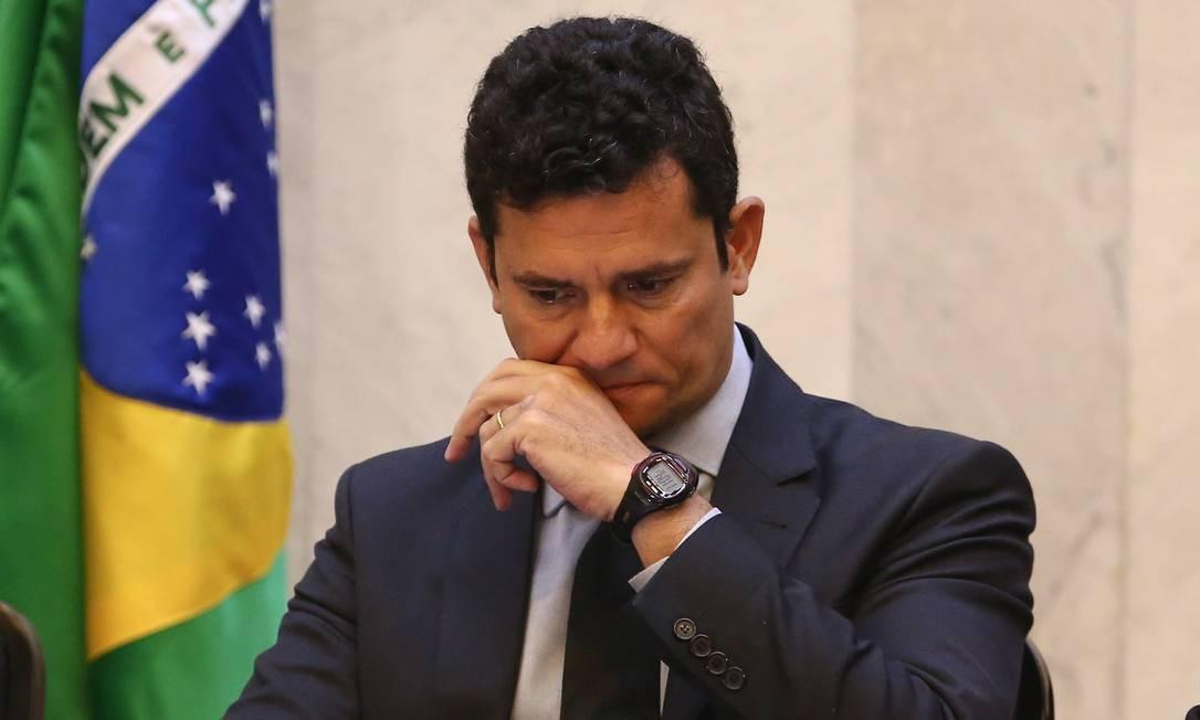 O Ministro Sergio Moro, disse não ver nada demais na troca de mensagens. Para o Ministro o fato é que houve à invasão criminosa de celulares de procuradores e divulgação das conversas e isso é grave Foto: Geraldo Bubniak / Agência O Globo