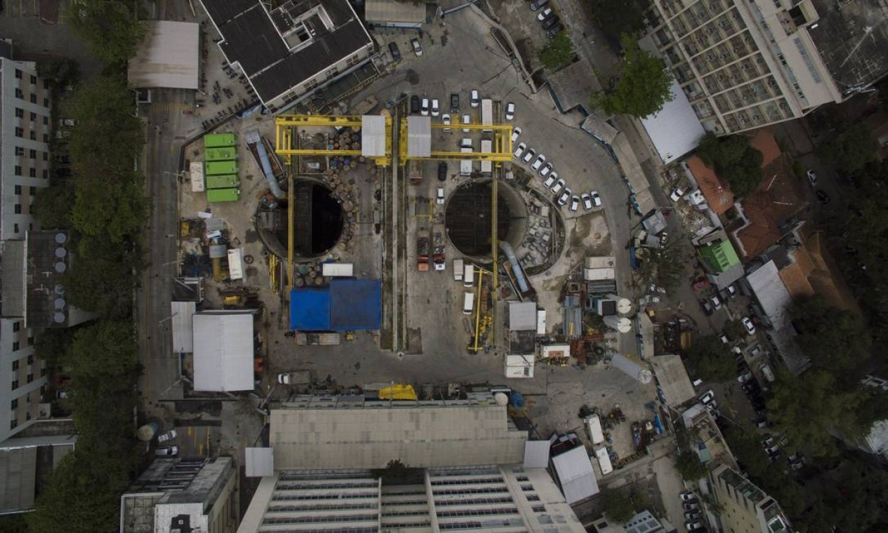 Vista da obra da estação da Gávea do Metro, próximo a PUC Foto: Daniel Marenco / Agência O Globo