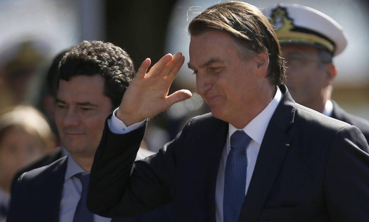 No início da manhã do evento, o encontro entre Jair Bolsonaro e Sergio Moro não estava previsto na agenda de ambos. O ministro solicitou uma reunião ao presidente Foto: Jorge William / Agência O Globo
