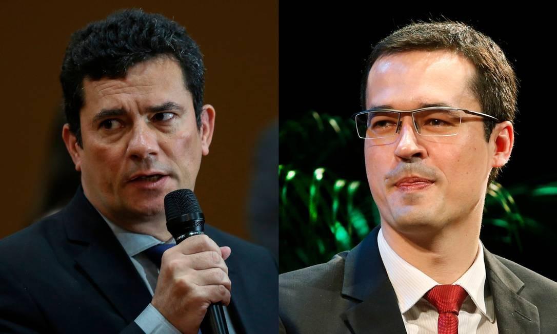 O ministro da Justiça Sergio Moro e o procurador Deltan Dallagnol, que tiveram mensagens divulgadas Foto: Agência O Globo