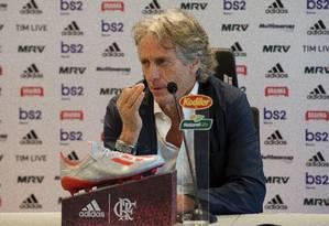Jorge Jesus durante a sua coletiva de apresentação Foto: Foto: Alexandre Vidal/Flamengo