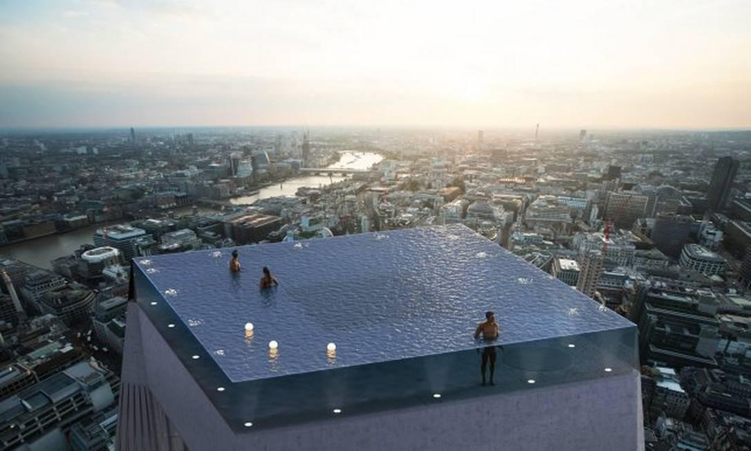 Projeto da piscina de borda infinita em Londres Foto: Divulgação/Compass Pool