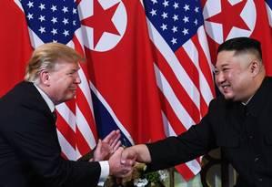 Trump e Kim em 27 de fevereiro de 2019: uma 'linda carta