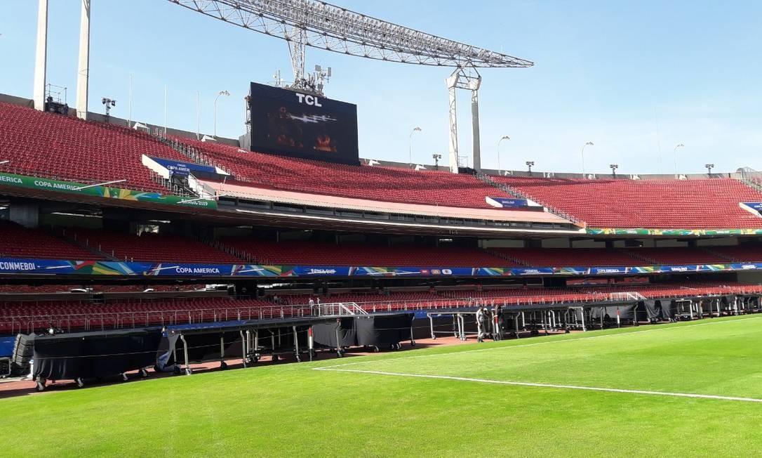 O Morumbi com os preparativos finais para a abertura da Copa América Foto: Igor Siqueira