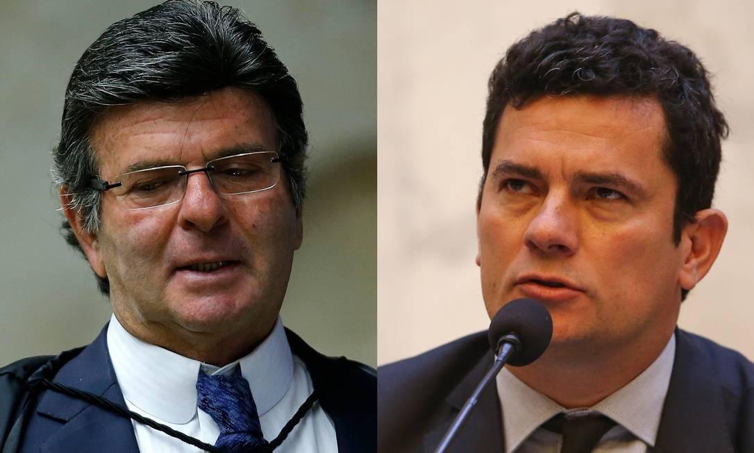 O ministro Luiz Fux e o ministro da Justiça Sergio Moro Foto: Agência O Globo