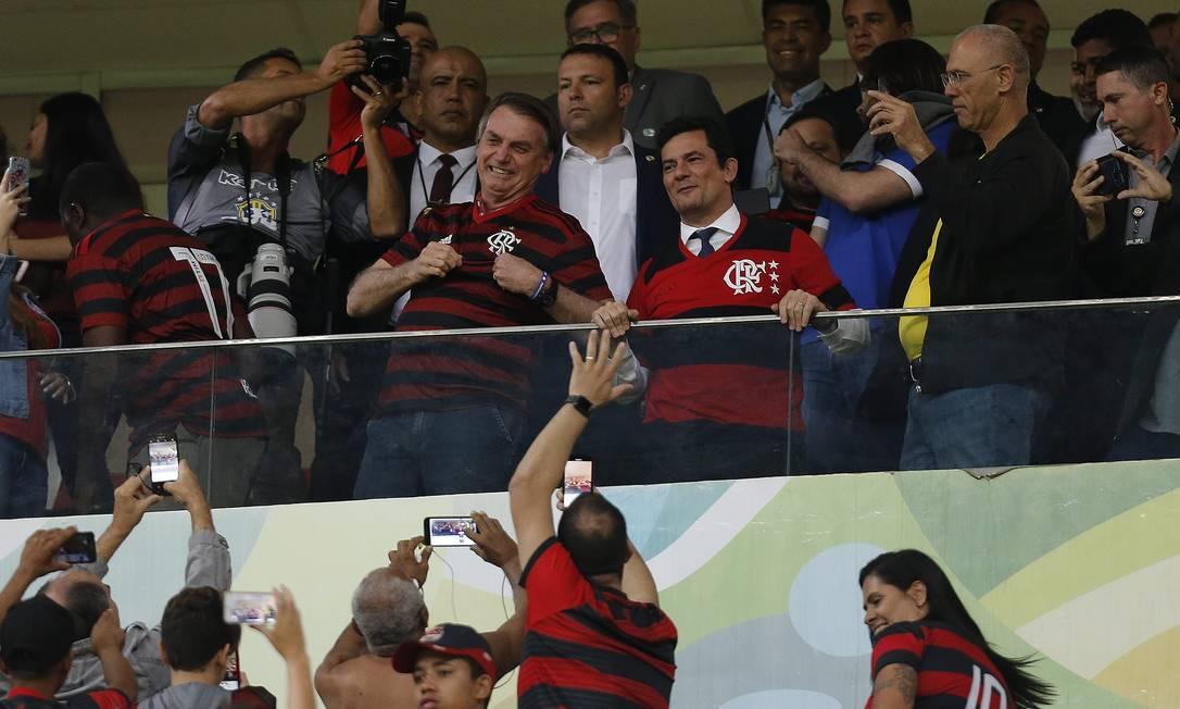 Na foto, o presidente Jair Bolsonaro ao lado do ministro da Justiça, Sergio Moro Foto: Jorge William / Agência O Globo