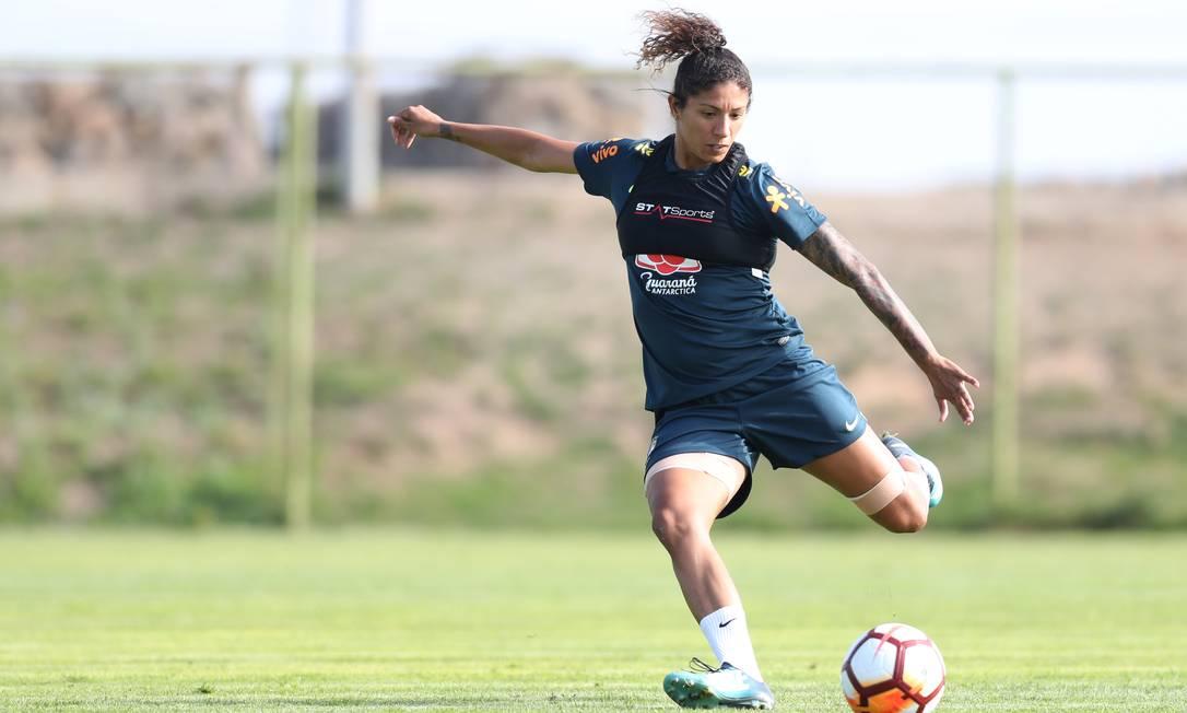 Atacante Cristiane durante treino da Seleção Brasileira Feminina Foto: Lucas Figueiredo / CBF:Confederação Brasileira de Futebol