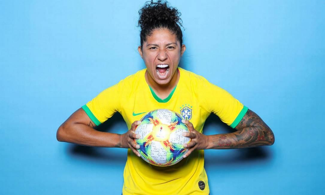 Retrato de Cristiane, que fez um hat-trick no primeiro jogo da Copa Foto: Naomi Baker - FIFA / FIFA via Getty Images