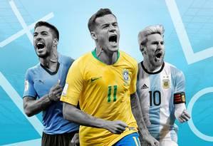 Suárez, Coutinho e Messi: craques da Copa América Foto: Editoria de Arte