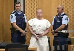 Acusado de realizar o massacre em 2 mesquitas de Wellington se declarou inocente de todas as 92 acusações feitas pela justiça. Julgamento começa em 4 de maio de 2020. Foto: MARK MITCHELL / AFP