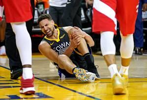 Klay Thompson sofreu lesão grave em derrota dos Warriors Foto: Kyle Terada / USA TODAY Sports