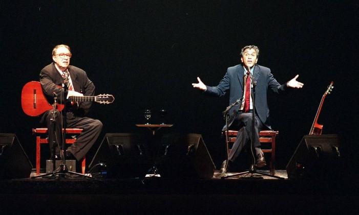 30.09.1999 - Luiz Carlos Santos - Sc - Cantor João Gilberto e Caetano Veloso no Credicard Hall em São Paulo. Foto: Luiz Carlos Santos / Agência O Globo