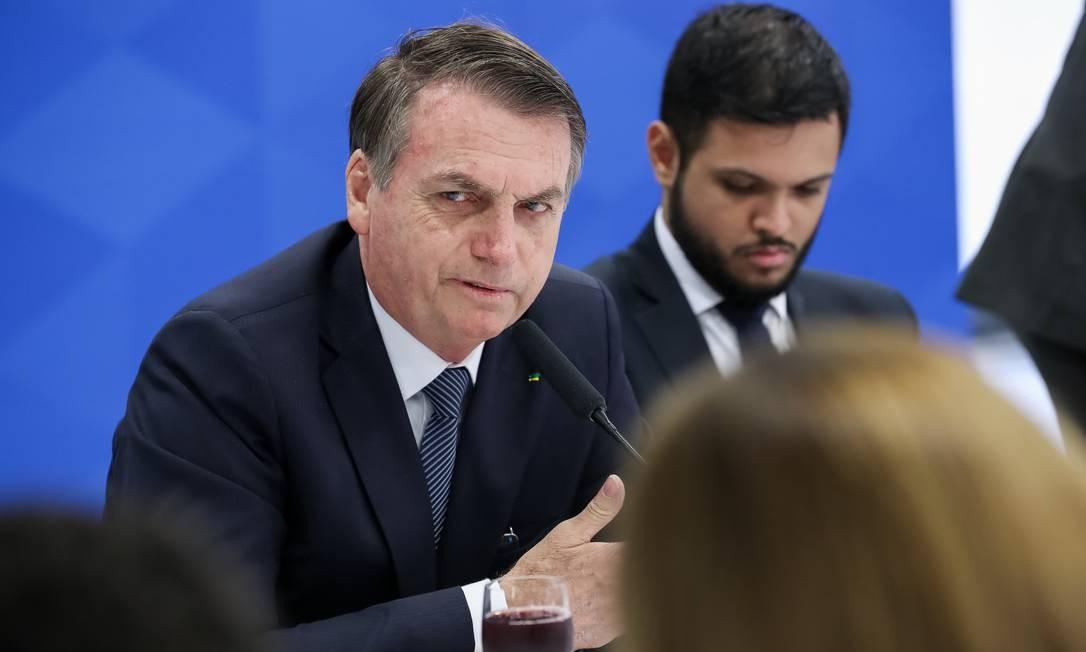 O presidente Jair Bolsonaro em café da manhã com jornalistas. Foto: Marcos Corrêa/Presidência