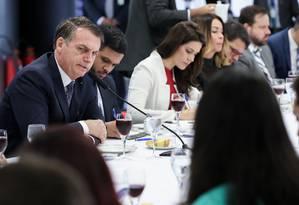 O presidente Jair Bolsonaro durante café da manhã com jornalistas no Palácio do Planalto Foto: Marcos Corrêa/Presidência