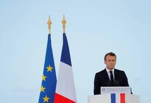 Presidente da França, Emmanuel Macron; centrista é forte defensor do projeto da União Europeia Foto: STEPHANE MAHE / REUTERS/13-06-2019