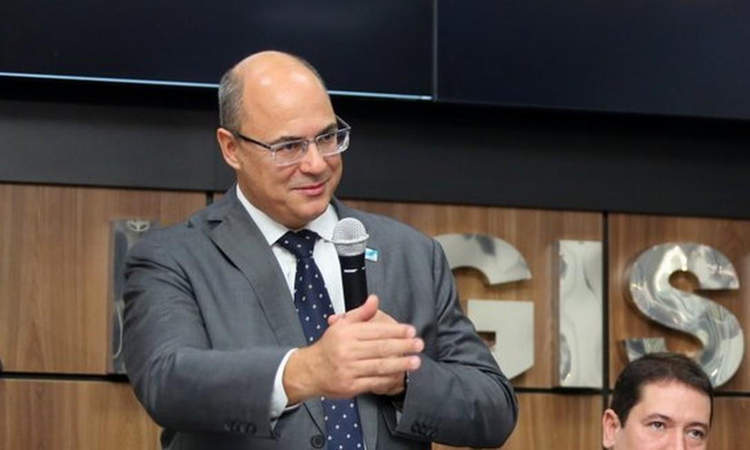 Witzel durante o anúncio do programa Segurança Presente na Baixada. Declarações causaram polêmica Foto: Philippe Lima / Divulgação / Governo do Rio