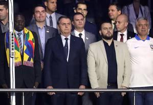 Presidente Jair Bolsonaro assiste ao jogo do Brasil contra a Bolívia na Copa América, no Morumbi Foto: HENRY ROMERO / REUTERS